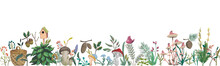 Seamless Border With  Forest Plants, Berries, Flowers, Mushrooms, Plant, Berry, Cones. Decorative Elements Of Forest Flora In Watercolor Style. Vector Illustration