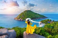 Beautiful Girl Standing On Viewpoint At Koh Nangyuan Island Near Koh Tao Island, Surat Thaini In Thailand.