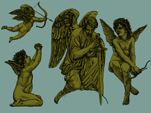 Hand-drawn Vintage Vector Art Of Angels And Cherubs In Classic Renaissance Manner And Styler, Isolated Heavenly Figures, With Changable Colors