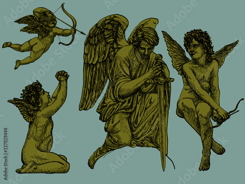 Hand-drawn vintage vector art of Angels and Cherubs with changable colors Canvas Print