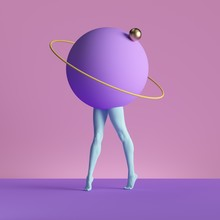 3d Render, Abstract Minimal Surreal Contemporary Art. Geometric Concept, Blue Legs, Violet Ball Isolated On Pink Background. Modern Fashion Composition, Visual Illusion, Funny Freak Performance