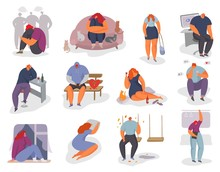 People Feel Lonely Vector Illustration Set. Cartoon Young Woman Man Character Sitting Alone, Feeling Stress Emotion, Depression. Sad Male Female Person In Problem, Loneliness Fear, Isolated On White