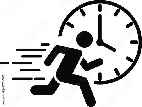 Fototapeta A running man with clock icon, immediate icon, vector obraz