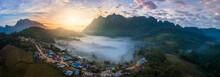 Doi Luang Chiang Dao Panorama Aerial View Sunrise Destiantion Travel Of Chiangmai, Thailand