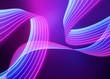 canvas print picture - 3d render, abstract neon background, pink blue light, glowing wavy lines, modern fashion ribbon concept, loops and curves. Ultraviolet spectrum. Vibrant colors.