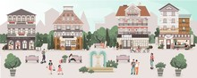 People On Central Square Of Cute Old Town, Vector Illustration. Historic Houses With Cozy Cafe, Fashion Store And Bakery Shop. Men And Women Walking Around Town Square, Old European Architecture