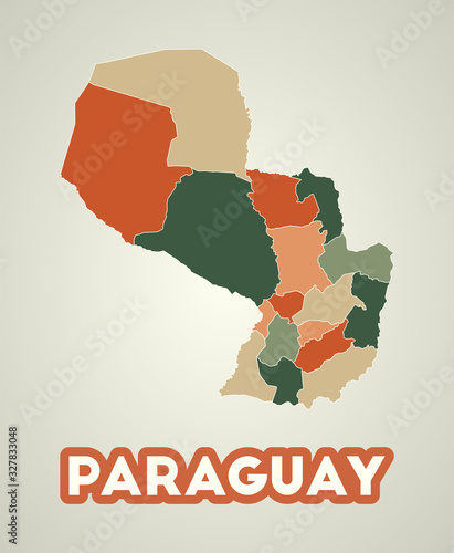 Photo Paraguay poster in retro style