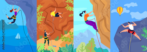 Fotografia Climbing vector illustration, climber climbs up the mountain