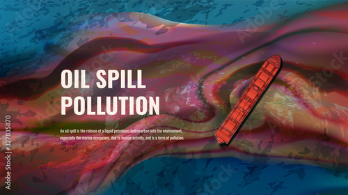 Oil spill pollution vector realistic illustration with text Tapéta, Fotótapéta