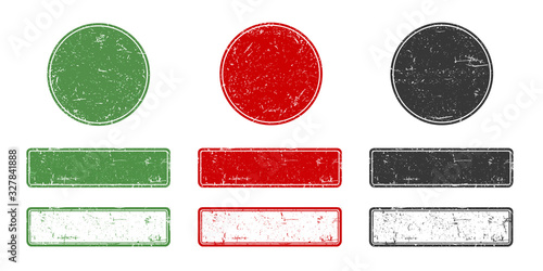 Photo Rubber stamp set, Rount and rectangle green ecologic natural style on grunge retro stamp