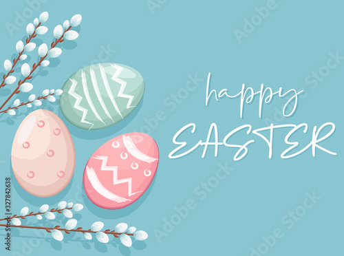 Happy Easter eggs with white catkins decorations. Vibrant colors with blue background