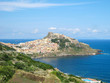 splendid panorama from the valley of the moon in sardinia with its granite rocks and the turquoise sea in the background