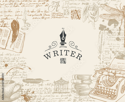 Vector banner on a writers theme with sketches and place for text in vintage style Poster Mural XXL