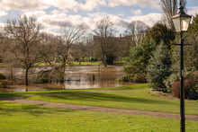 Park And Flooded River.