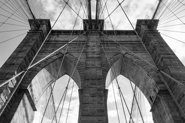 Black and White Arches on the Brooklyn Bridge in New York City