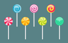 Set Of Lollipop Sweet Colorful...