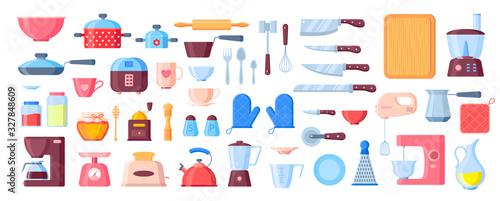 Cuadros en Lienzo Vector kitchen utensils flat elements set