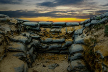 Sandbag For Protecting The Enemy From Invading Front Line. .Sandbag And Bunker Of The Old Military Bunker Base In Border Area Used In War