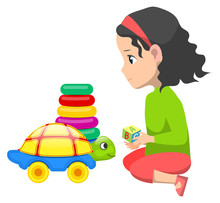 Little Girl Playing With Toys ...