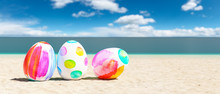 Beach With Colorful Easter Egg...