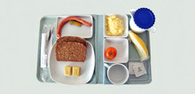 Panoramic Images Of Scanty Food On A Tablet Like You Can Find In A Canteen Of Hospital, University And Similar Places.