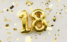 18 Years Old. Gold Balloons Nu...