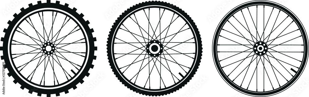 Fototapeta tre tipi di ruota di bicicletta in vettoriale