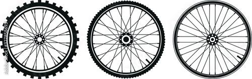 tre tipi di ruota di bicicletta in vettoriale Fotobehang
