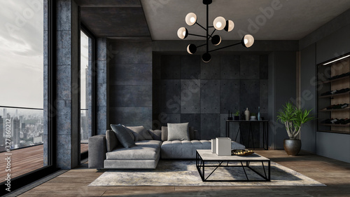 Obraz Modern luxury city apartment with grey walls - fototapety do salonu