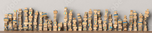 Many packages stacked up as delivery service and shipping concept, as a panorama background header