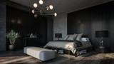 Fototapeta Do pokoju - Design of luxury bedroom with dark interior