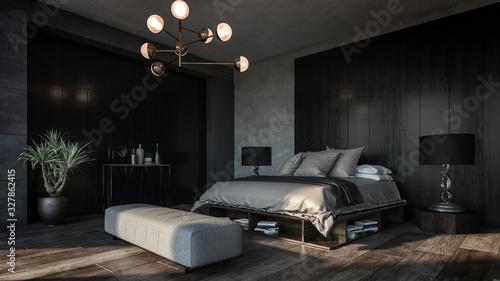 Obraz Design of luxury bedroom with dark interior - fototapety do salonu