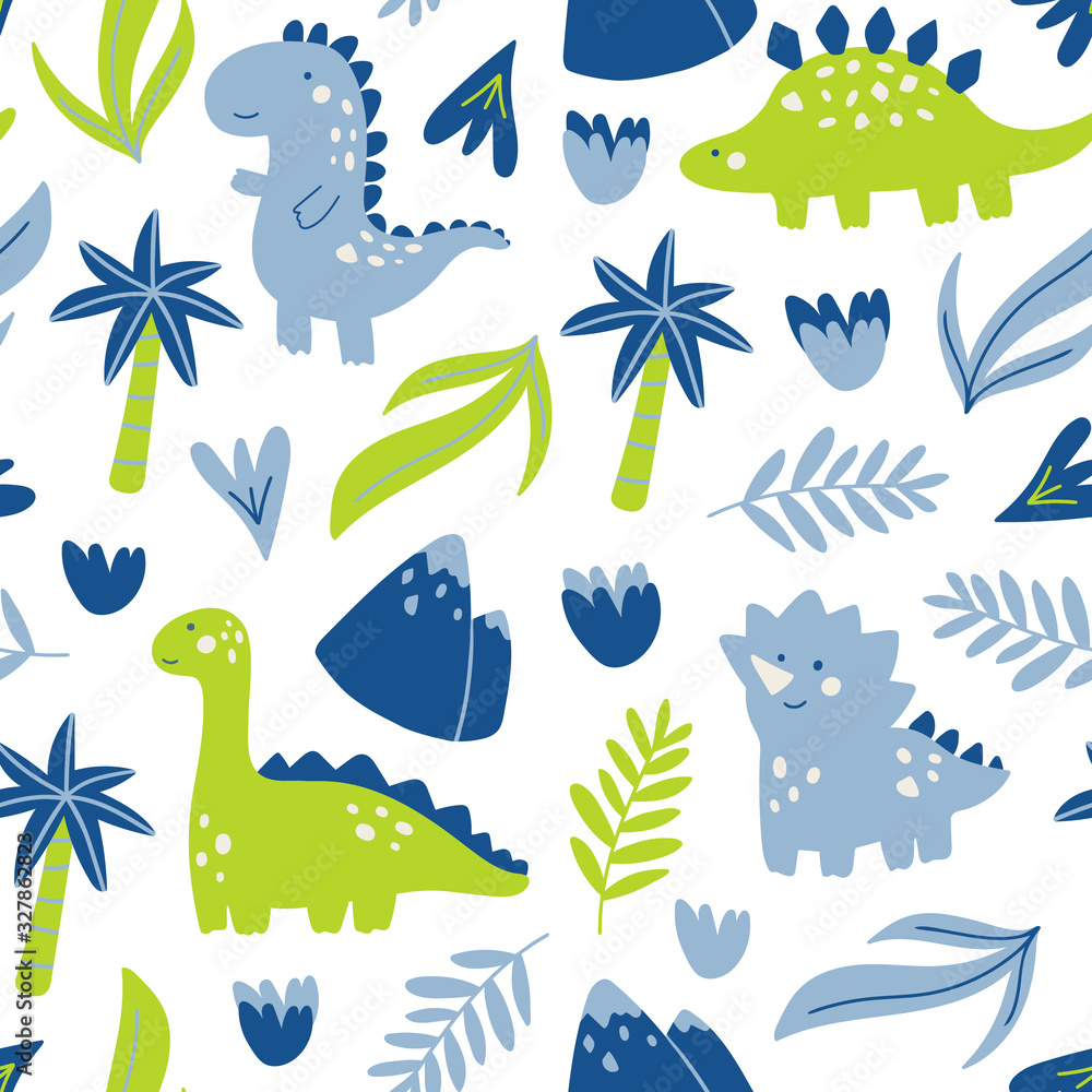 Vector seamless pattern with cute dinosaur character. Hand drawn with palm tree, leaves, flowers and mountain. Cartoon design in childish doodle style for textile, concept, books