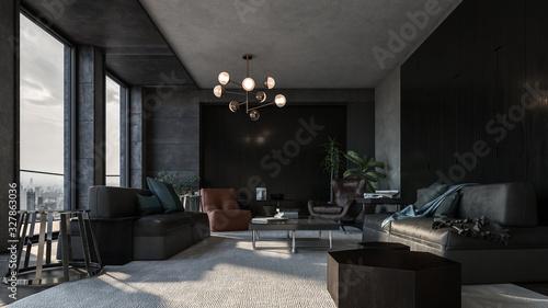 Obraz Spacious long living room with dark design - fototapety do salonu