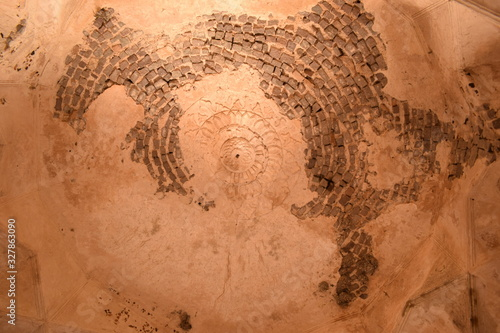 Платно Old Historical Golconda Fort Ruined Walls in India Background stock photograph