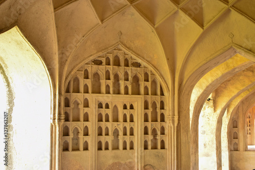 Photo Old Historical Golconda Fort Ruined Walls in India Background stock photograph