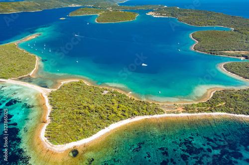 Fototapeta Croatia, beautiful Adriatic seascape, aerial view of spectacular turquoise lagoons, bays and pine beaches on Dugi Otok island obraz