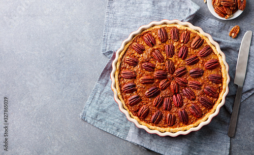 Fotografie, Obraz Pecan pie, tart in baking dish