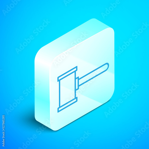 Isometric line Judge gavel icon isolated on blue background Wallpaper Mural