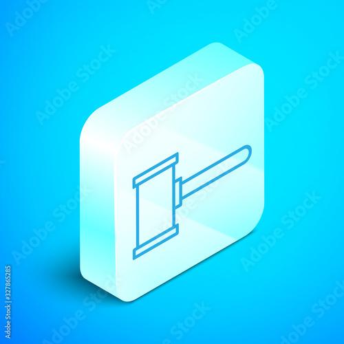 Photo Isometric line Judge gavel icon isolated on blue background