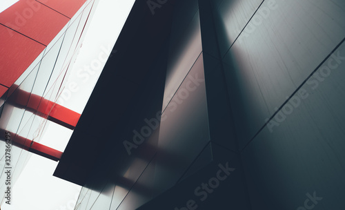 Fotografía Wide angle abstract background view of steel light blue high rise commercial building skyscraper made of glass exterior