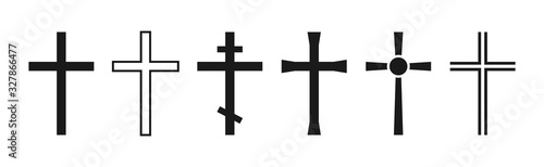 Fototapeta Cross symbol. Christian cross icon collection. Vector