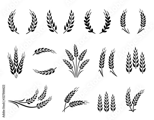 Valokuva Wheat wreaths and grain spikes set icons