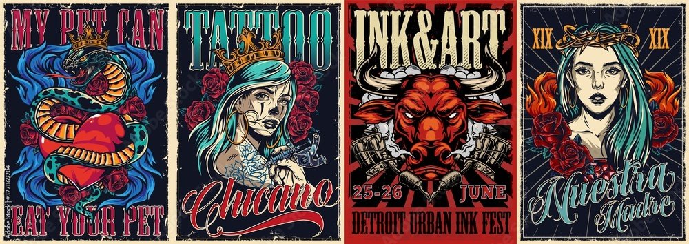 Fototapeta Vintage colorful tattoo conventions posters