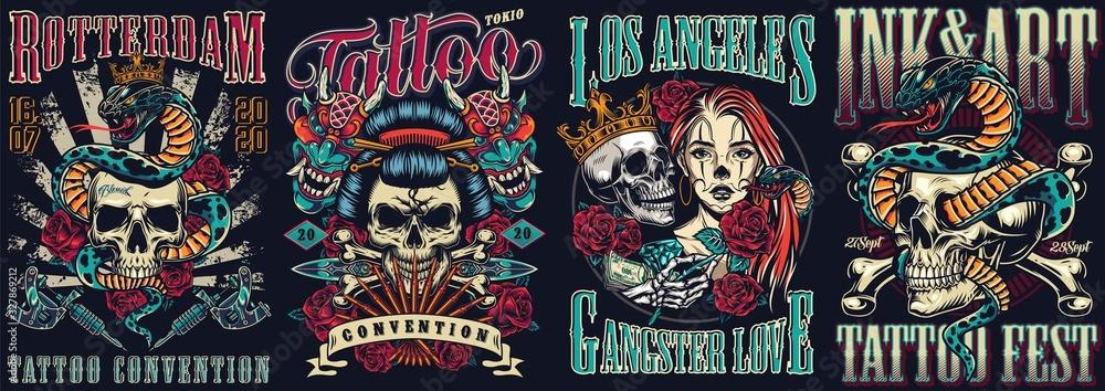 Vintage tattoo festivals posters set