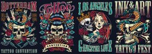 Vintage Tattoo Festivals Posters Set