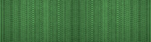 Geometric Green Woven Cotton Textile With Diamond Rhombus Pattern Texture Background Banner Panorama