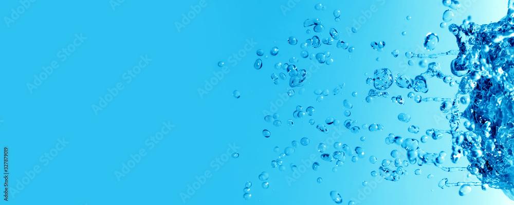 Fototapeta Abstract Blue Water bubble drops splash background.