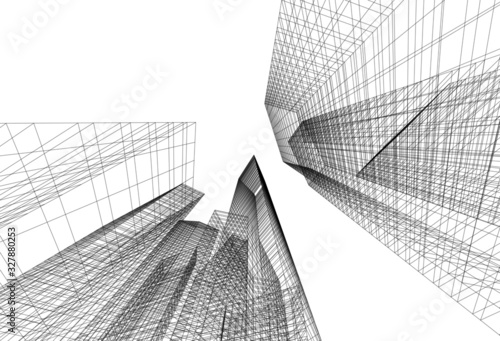 Skyscrapers city architecture 3d  - 327880253