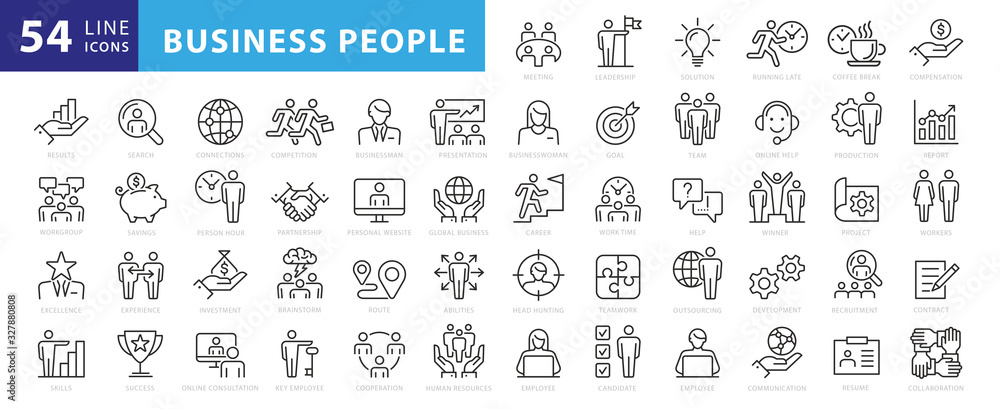 Fototapeta Business people, human resources, office management - thin line web icon set. Outline icons collection. Simple vector illustration